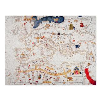 ヨーロッパ、北アフリカのカタロニアの地図のコピー ポストカード