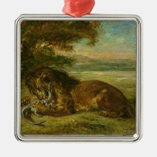 ライオンおよびわに1863年 メタルオーナメント