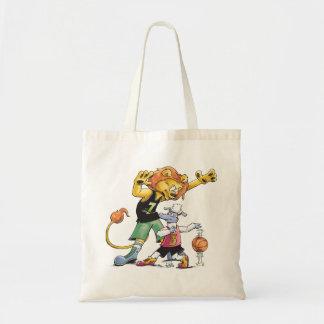 ライオンおよびヒツジのバスケットボール トートバッグ