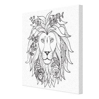 ライオンおよび花の落書き6 キャンバスプリント