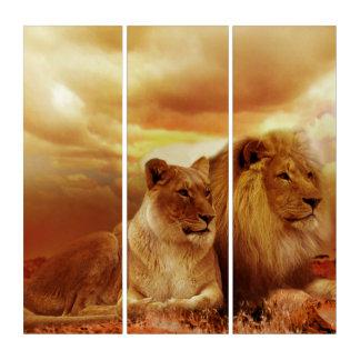 ライオンおよび雌ジシのAcryliPrint®HDのトリプティクの壁の芸術 トリプティカ