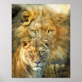ライオンおよび雌ジシアフリカの皇族の芸術のポスターまたはPrinr ポスター