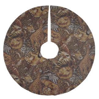 ライオンとの動物のサファリのジャングルパターンデザイン、G ブラッシュドポリエステルツリースカート