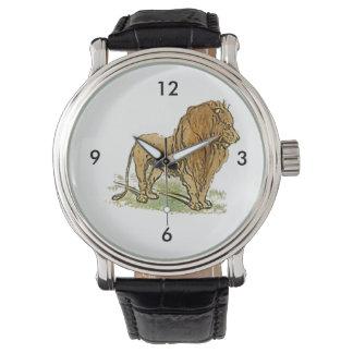 ライオンのアフリカ猫の金鬣の漫画 腕時計