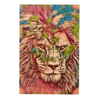 ライオンのキメラのファンタジーの野性生物の芸術 ウッドウォールアート