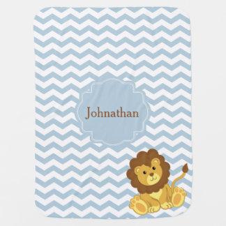 ライオンのジグザグパターンのカスタムのベビーブランケット ベビー ブランケット