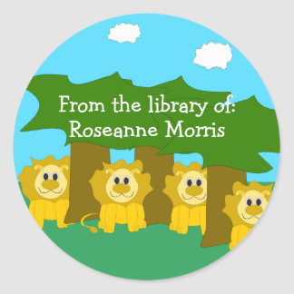 ライオンのデザインの蔵書票 ラウンドシール