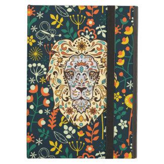 ライオンのヘッド砂糖のスカルのレトロの花パターン iPad AIRケース