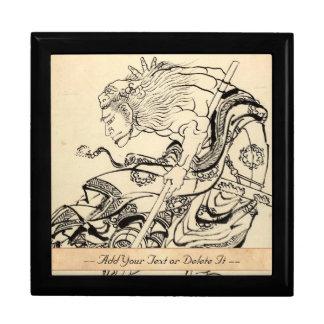 ライオンのマスクHokusaiを持つ武士の戦士のスケッチ ギフトボックス