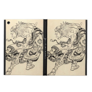 ライオンのマスクHokusaiを持つ武士の戦士のスケッチ iPad Airケース
