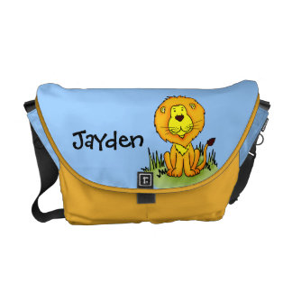 ライオンの一流の青及び黄色の子供の動物のバッグ メッセンジャーバッグ