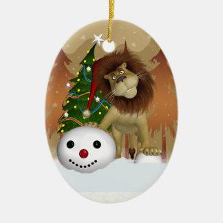 ライオンの休日のオーナメント-クリスマスツリーのオーナメント セラミックオーナメント