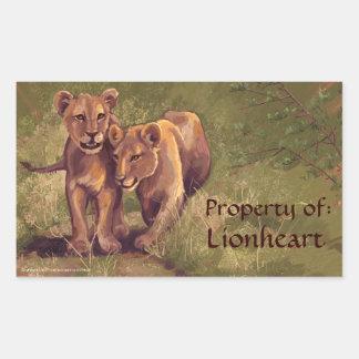ライオンの子の芸術の蔵書票のステッカー 長方形シール