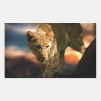 ライオンの子 長方形シール
