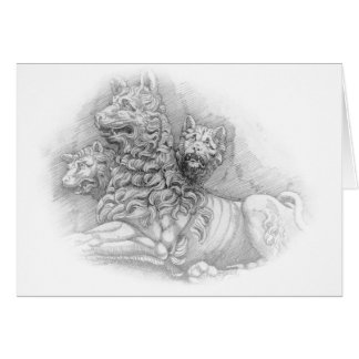 ライオンの彫像の勉強-ピエールジェイクスカード カード