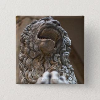 ライオンの彫像フィレンツェイタリア 5.1CM 正方形バッジ