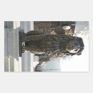 ライオンの彫像 長方形シール