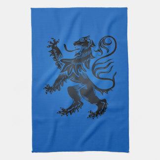 ライオンの手がつけられないデザイン、複雑な青および黒い キッチンタオル