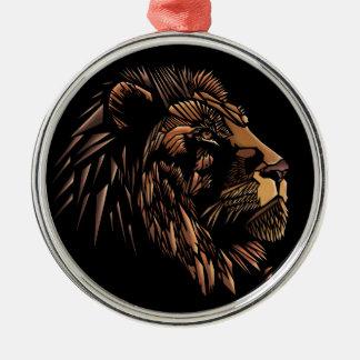 ライオンの抽象的なイラストレーション メタルオーナメント