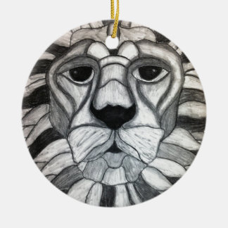 ライオンの木炭白黒のスケッチ セラミックオーナメント