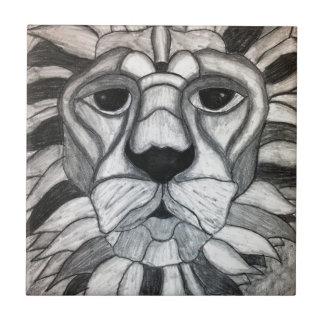 ライオンの木炭白黒のスケッチ タイル
