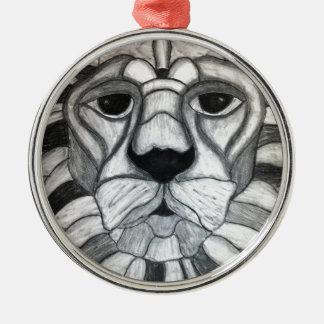 ライオンの木炭白黒のスケッチ メタルオーナメント