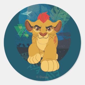 ライオンの監視| Kionサファリのグラフィック ラウンドシール