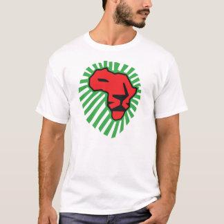 ライオンの緑の鬣のWaka赤いWakaアフリカのワイシャツ Tシャツ