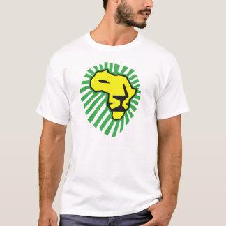 ライオンの緑の鬣のWaka黄色いWakaアフリカのワイシャツ Tシャツ