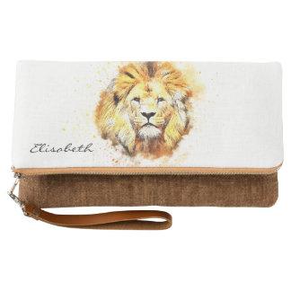 ライオンの色彩の鮮やかなポートレート クラッチバッグ