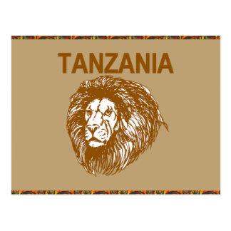 ライオンの郵便はがきが付いているタンザニア ポストカード