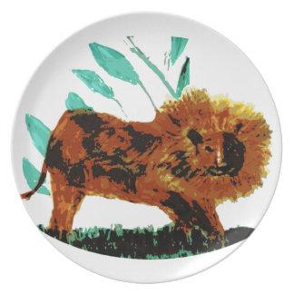 ライオンの野生動物の絵 プレート