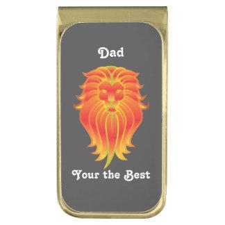 ライオンの頭部 ゴールド マネークリップ