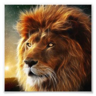 ライオンの顔。抽象的概念百獣の王 フォトプリント