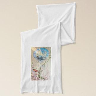 ライオンの魚が付いている帆船 スカーフ