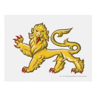 ライオンのstatant guardantのHeraldic記号 ポストカード