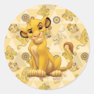 ライオン王三角形パターンの| Simba ラウンドシール