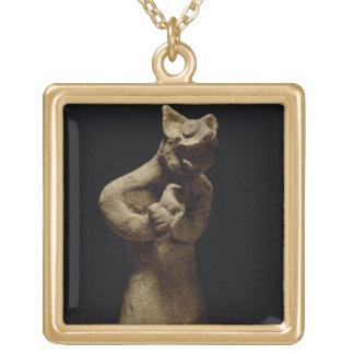 ライオン頭の鬼の小像、メソポタミア、c.5 ゴールドプレートネックレス