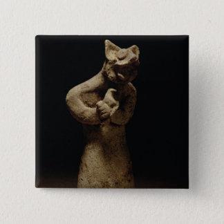 ライオン頭の鬼の小像、メソポタミア、c.5 5.1cm 正方形バッジ