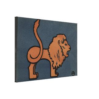 ライオン-好古家、カラフルなさし絵 キャンバスプリント
