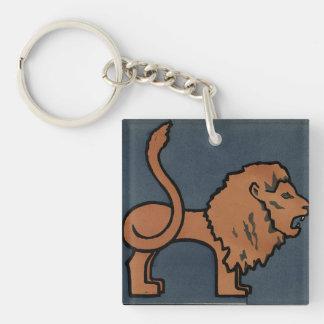 ライオン-好古家、カラフルなさし絵 キーホルダー
