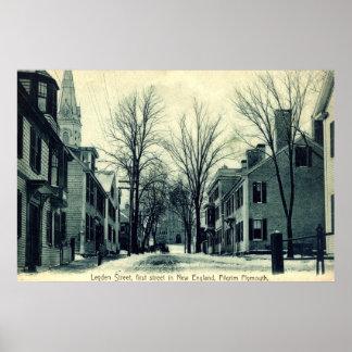 ライデンStの巡礼者プリマスMA c1908 ポスター
