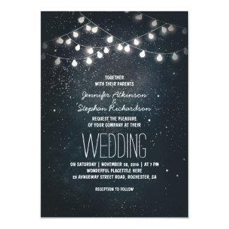 ライトおよび夜星のヴィンテージのエレガントな結婚式 カード