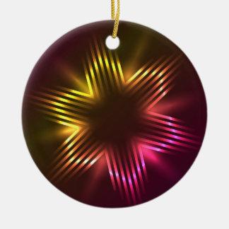 ライトと形づくクリスマスの星 陶器製丸型オーナメント