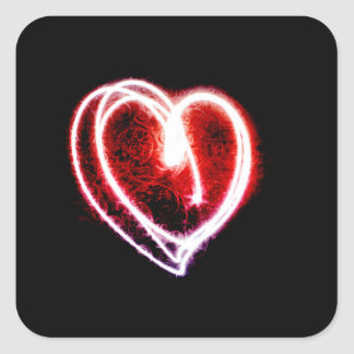 ライトのバレンタインデーの粋なハート スクエアシール