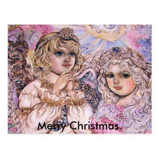 ライトのフラッシュの天使。、メリークリスマス ポストカード