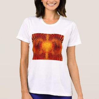 ライトの抽象的なフラクタルの金赤いトンネル Tシャツ