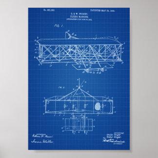 ライト兄弟の飛行機のパテント-青写真 ポスター