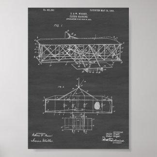 ライト兄弟の飛行機のパテント-黒板 ポスター