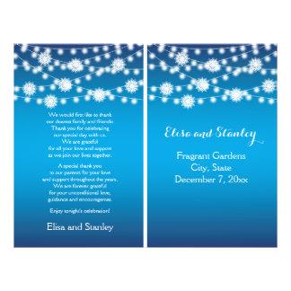 ライト雪片の青い結婚式プログラムの一連 チラシ